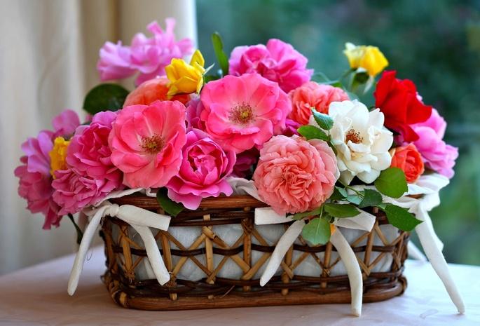 Лепестки розы корзинка