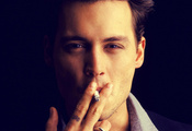 cigarette, eyes, depp, actor, america, Johnny depp, american, tattoo, ring, ...