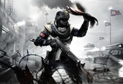боец, Homefront, gamewallpapers, автомат, флаг