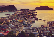 view, Elevated, over alesund, норвегия, sunnmre, город, вид, mre og romsdal ...