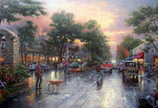 kinkade, cars, Thomas kinkade, city, houses, town, avenue, painting, carmel ...