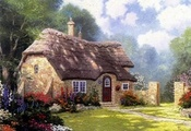 summer, томас кинкейд, Cottage in the forest, thomas kinkade, painting, cot ...