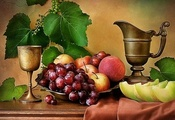 art photo, composition, still life, table, fruits, iron cup, pot