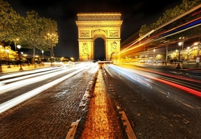 paris, ночь, франция, france, Arc de triomphe, париж