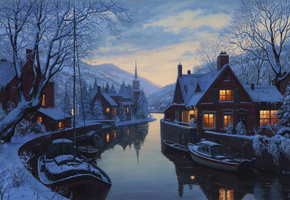 snow, lushpin, houses, winter, trees, eugeny lushpin, chapel, An old inn by the river, painting