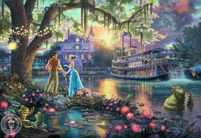 Thomas kinkade, the disney dreams collection, the princess and the frog, art, 50-th anniversary