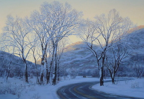winter, trees, car, Park city, painting, lushpin, art, road, snow, evening, eugeny lushpin