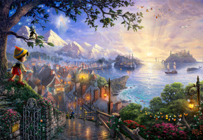 art, Thomas kinkade, 50-th anniversary, the disney dreams collection, pinocchio wishes upon a star