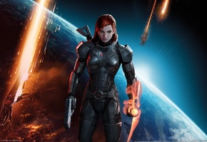 n 7, earth, red hair, Mass effect 3, green eyes, shepard, guns, armour, girl, game wallpapers