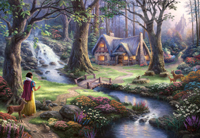 the disney dreams collection, 50-th anniversary, Thomas kinkade, snow white discovers the cottage