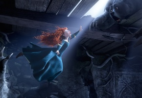 the movie, pixar, disney, bear, red hair, scotland, film, princess, merida, Brave