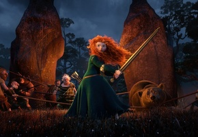 pixar, film, red hair, Brave, the movie, bear, warrior, princess, archer, scotland, disney, merida