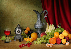 art photo, composition, still life, table, fruits, iron cup, clock