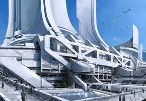 башни, thessia, город, Mass effect 3, concept art, транспорт, горы