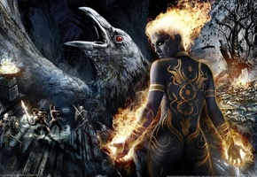 darkness, fire, raven, tattoo, game wallpapers, skeletons, girl, swords, Dungeon siege 3, warriors