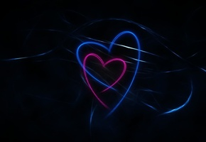 dark, background, hearts, abstraction, lines, Black, blue, pink