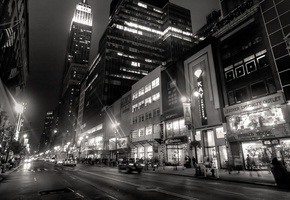 buildings, black and white, city, lights, ���-����, night, New york, taxi, people