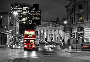 road, black and white, blur, лондон, street, London, city, night, lights, bus, england