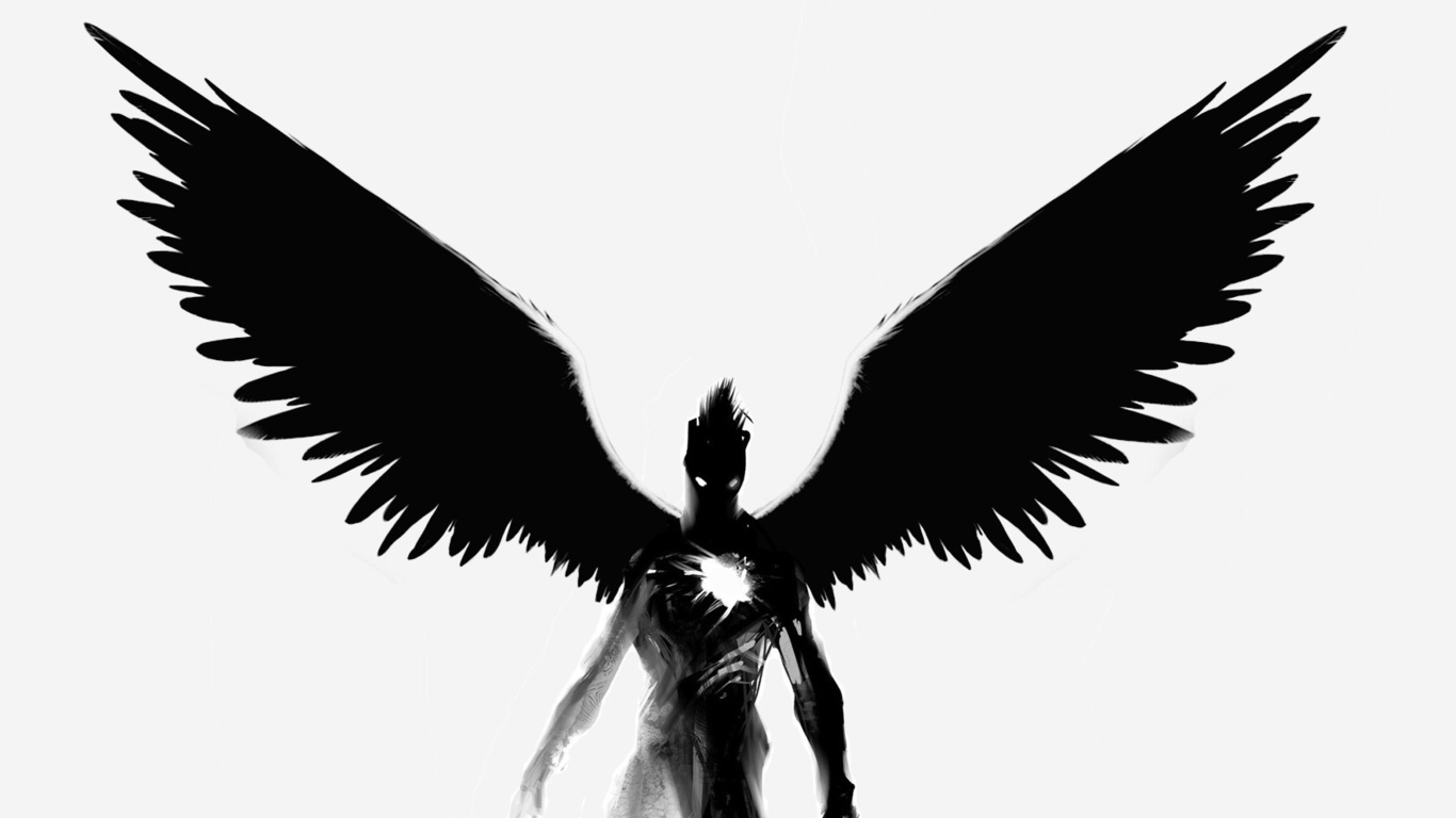 Black and White Demon with Wings