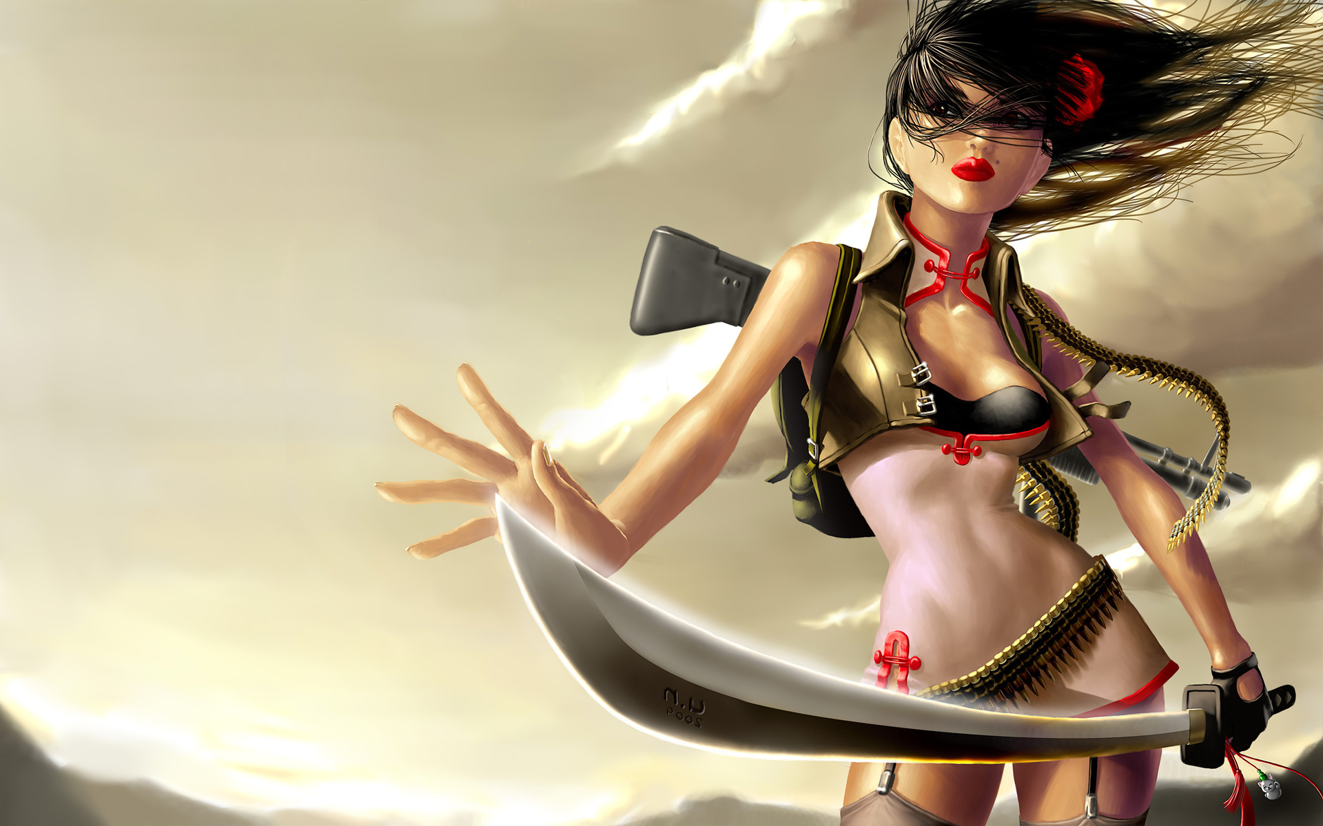 Manga warrior chick naked hd wallpaper nude model